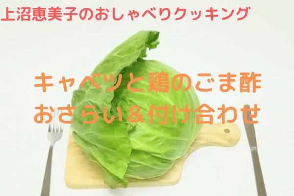 上沼恵美子のおしゃべりクッキング「キャベツと鶏のごま酢」おさらい&付け合わせ
