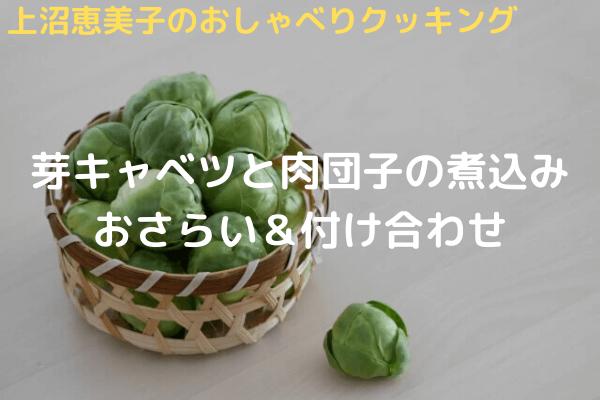 上沼恵美子のおしゃべりクッキング「芽キャベツと肉団子の煮込み」おさらい&付け合わせ